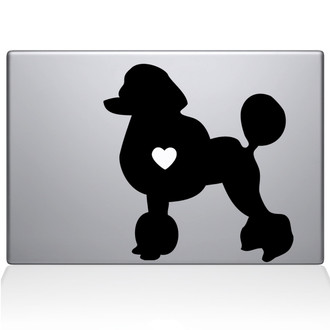 Poodle Love Silhouette Macbook Decal Sticker Black