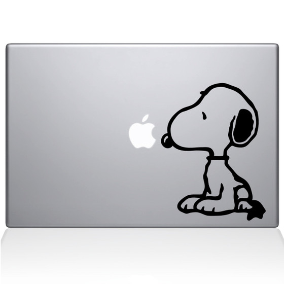 Snoopy Macbook Decal Sticker Black