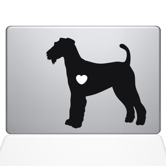I Love My Airedale Terrier Macbook Decal Sticker Black