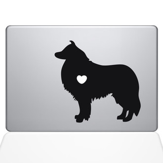 I Love My Collie Macbook Decal Sticker Black