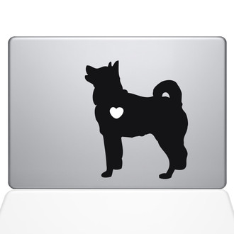 I Love My Akita Macbook Decal Sticker Black