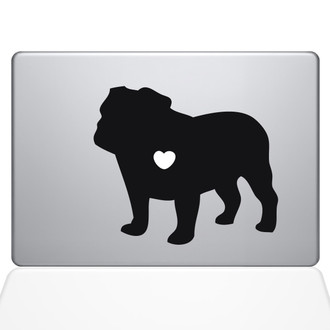 I Love my Bulldog Macbook Decal Sticker Black