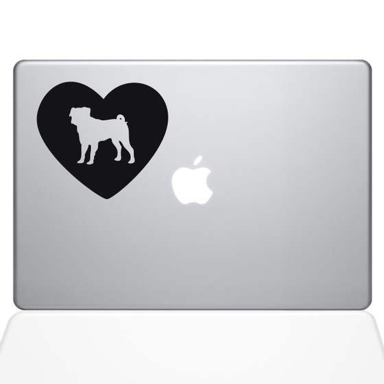 Heart Pug Macbook Decal Sticker Black