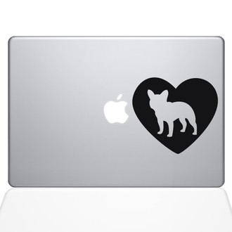 Heart French Bulldog Macbook Decal Sticker Black