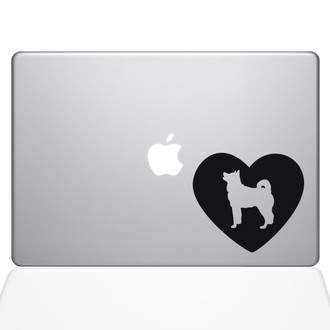 Heart Akita Macbook Decal Sticker Black