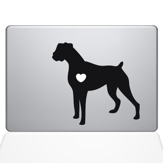 I love my boxer dog macbook decal sticker black