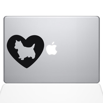 Heart Yorkshire Terrier Macbook Decal Sticker Black