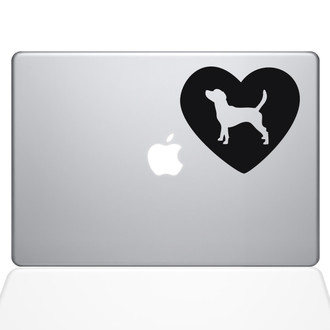 Heart Beagle Macbook Decal Sticker Black