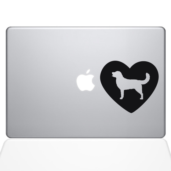 Heart Golden Retriever Macbook Decal Sticker Black