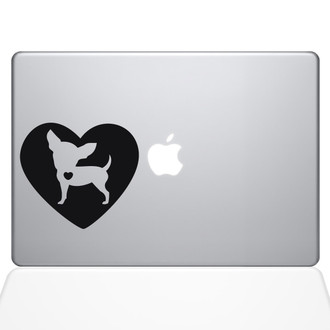 Heart Chihuahua Macbook Decal Sticker Black