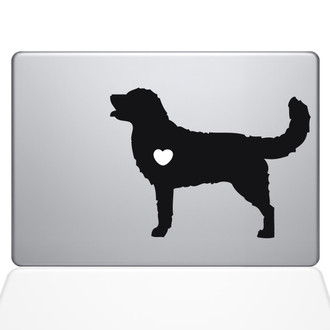 I Love My Golden Retriever Macbook Decal Sticker Black