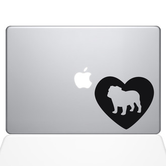 Heart Bulldog Macbook Decal Sticker Black