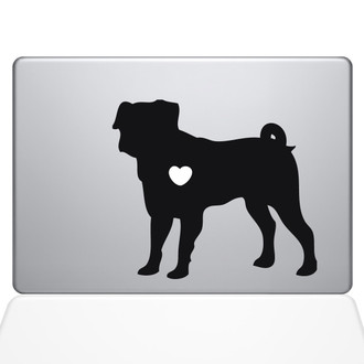 I Love My Pug Macbook Decal Sticker Black