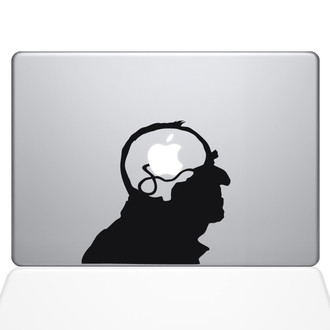 Steampunk Apple Brain Macbook Decal Sticker Black