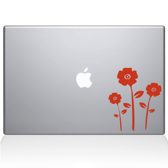 Flowers Macbook Decal Sticker Orange