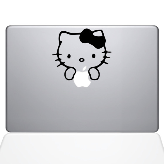 Hello Kitty Apple Logo Macbook Decal Sticker Black