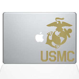 USMC Logo Macbook Decal Sticker Gold
