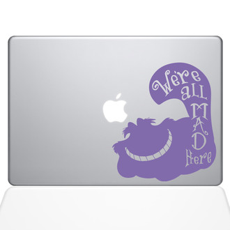 Mad Cheshire Cat Macbook Decal Sticker Purple