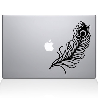 Peacock Feather Macbook Decal Sticker Black
