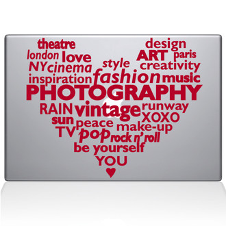 Contemporary Culture Heart Macbook Decal Sticker Red