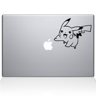 Pokemon Pikachu Jumping Macbook Decal Sticker Black