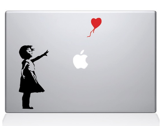 Banksy Girl & Balloon Macbook Decal Sticker Silver