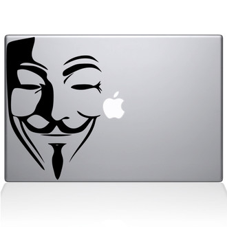 V for Vendetta Mask Macbook Decal Sticker Black