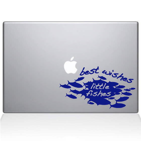 Best Wishes Little Fishes Macbook Decal Sticker Dark Blue