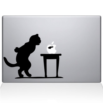 Cat and Fish Bowl Macbook Decal Sticker Black