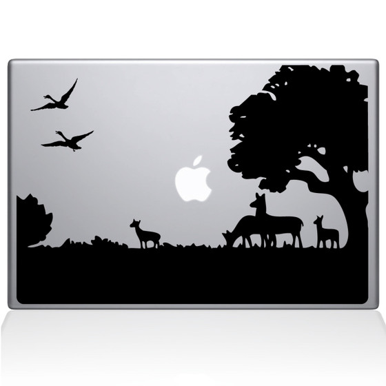 Deer Tree Meadow Macbook Decal Sticker Black