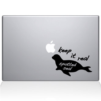 Keep It Real Spotted Seal Macbook Decal Sticker Black