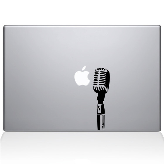 Open Mic Macbook Decal Sticker Black