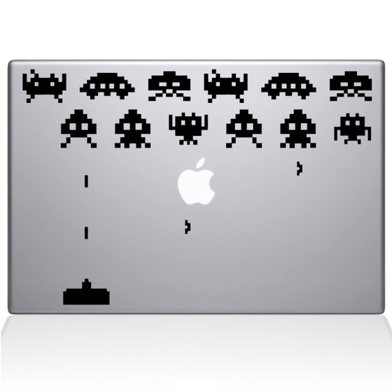 Space Invaders Macbook Decal Sticker Black