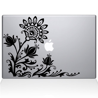 Flowery Eye Macbook Decal Sticker Black