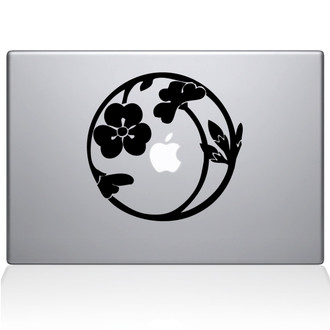 Nature Circle Macbook Decal Sticker Black