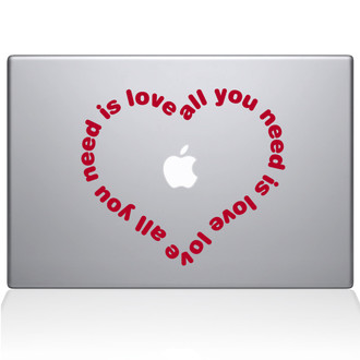 All You Need Is Love Heart Macbook Decal Sticker Red