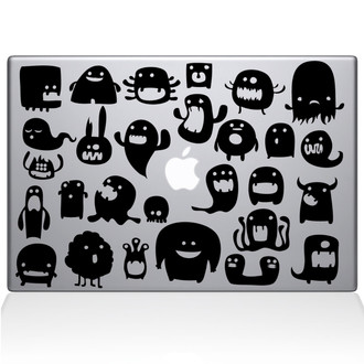 Monsters Macbook Decal Sticker Black