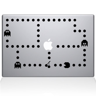 Pacman Macbook Decal Sticker Black