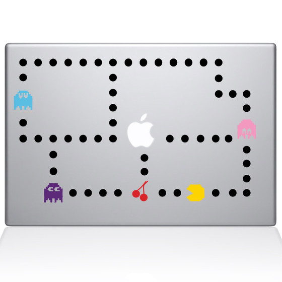 Pacman Color Macbook Decal Sticker Silver