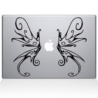 Swirly Wings Macbook Decal Sticker Black