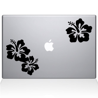Hibiscus Macbook Decal Sticker Black