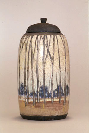 Aspens Raku Urn from  FUNERIA®  AVAILABLE NOW  $750.00 12 x 5 x 5