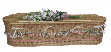 """Curved Ends, Weatherbeaten Gold Willow Colors Available: 48"""" - Pink bands and Handles 36"""" - Cream Bands and Handles"""