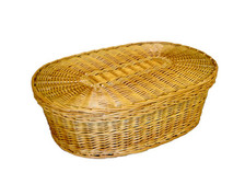 Natural Burial Company biodegradable woven willow pet coffin - closed view