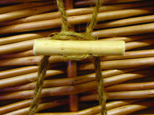 Woven willow casket closure - natural cord and toggle