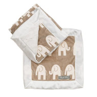 Ellie Gift Set has a creamy taupe back ground, with small ivory elephants.