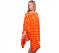 Alashan Cashmere Stripe Poncho With Contrast Lace Up Side - Persimmon, Mango, & Blaze