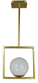 "Framburg Lighting 10"" 1-Light Satin Brass/Polished Brass Blue Moon Pendant"
