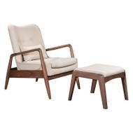 Zuo Modern Bully Lounge Chair & Ottoman Beige