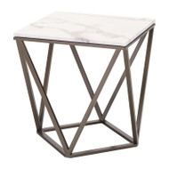 Zuo Modern Tintern End Table Stone & Antique Brass